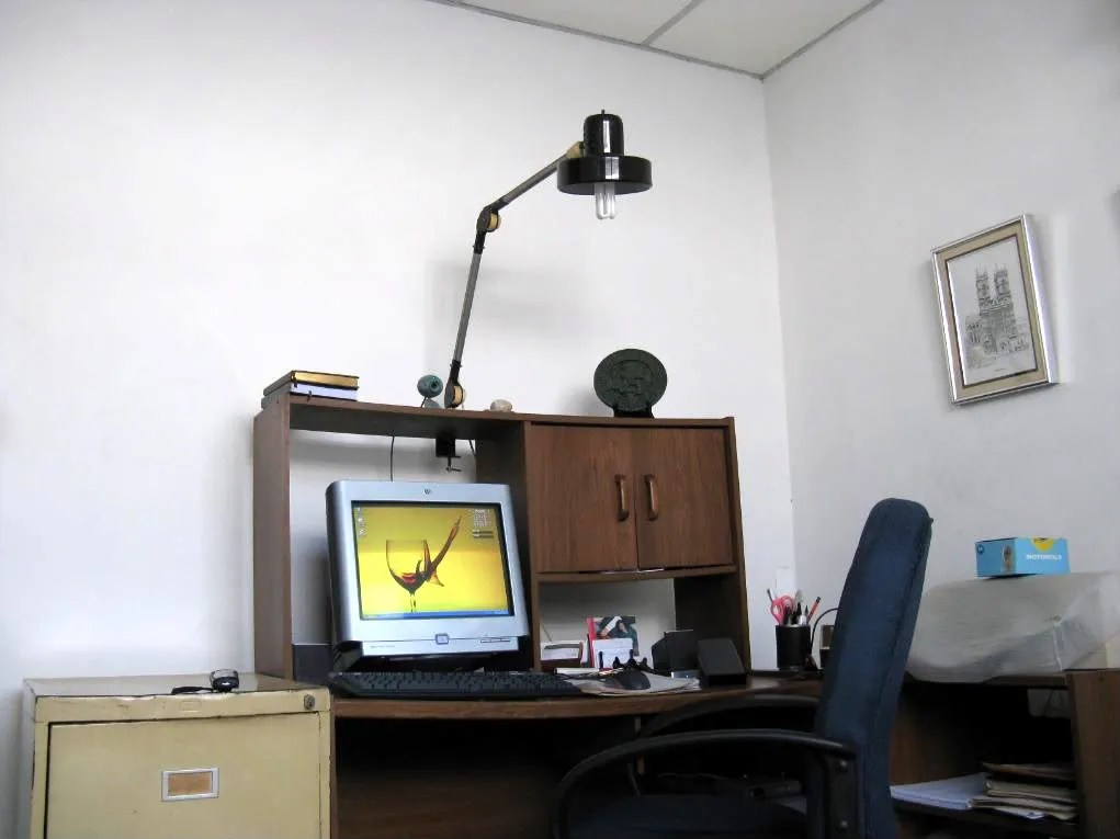 The flexible desk lamp produces a soft white light which eases the strain on my eyes.  Theres also a fluorescent light on the room which adds to the comfort of reading the computer screen.
