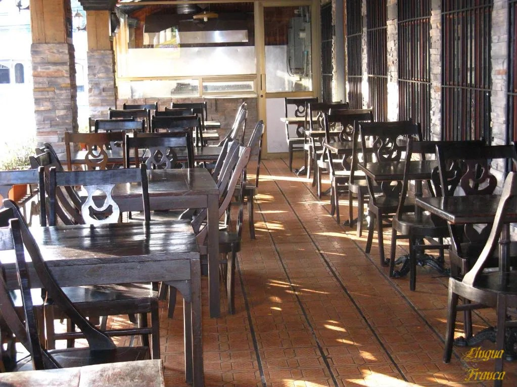 Picture of the empty seats and tables of Sanchos Corner on an early Sunday morning.  (Credit:  Omar Upegui R.)