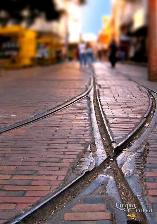A close up view of the streetcar rails in front of Plaza Santa Ana.  Notice how well kept the rails are after almost 100 years.  (Credit:  Omar Upegui R./Michael Moore)
