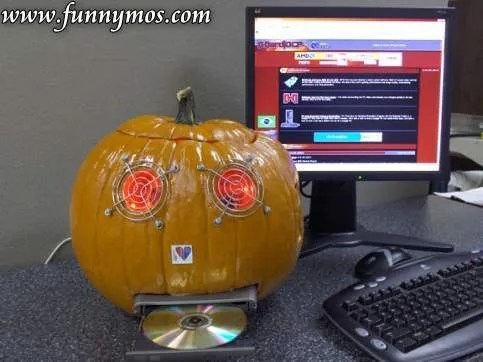 Enjoying Halloween with a corresponding computer.