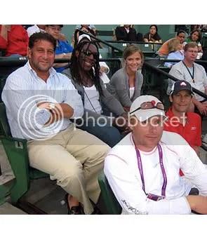 agent Ken Myerson, Dave Matthews Band member Boyd Tinsley, fiancé Brooklyn Decker, brother John Roddick and trainer Doug Spreen.
