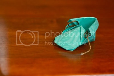 lone origami baby shoe