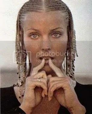 Image of Bo Derek with her long cornrows hairstyle.