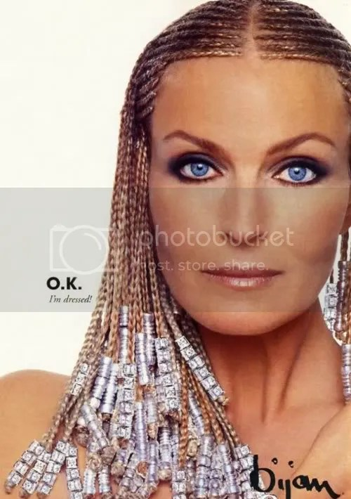 Picture of Bo Derek cornrows hairstyle.