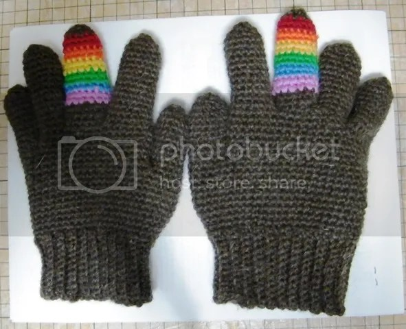 Brown crochet gloves with rainbow middle fingers