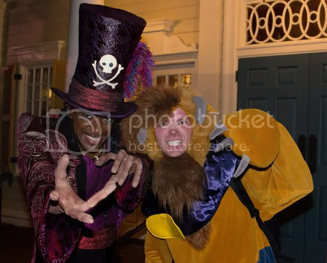 dr facilier was also out as were the cadaver dans performed and madame carlotta and renata entertained attendees waiting in line for the haunted mansion