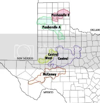 ERCOT, the organization that manages the electric grid in Texas, has identified high wind areas of West and North Texas as Competitive Renewable Energy Zones.  The CREZ designation allows investors in power lines that connect these areas to markets in more populous parts of the state to recover transmission fees before wind turbines are installed in these areas.