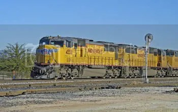 Most of Americas rail freight is pulled by diesel electric locomotives along non electrified rights of way