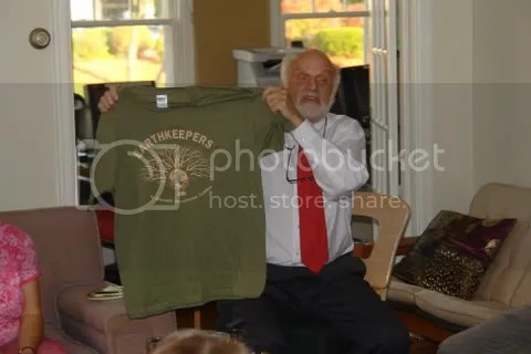 Noted author and Bible scholar Dr. Walter Brueggemann holds an Earth Keeper shirt at Lutheran Campus Ministry on Monday Oct. 8, 2007