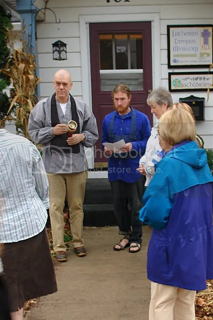 Blessing of Garden began at front door of LCM house