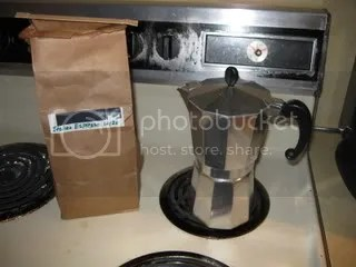 Moka pot, and espresso blend.  That stove was new sometime in the 70s.