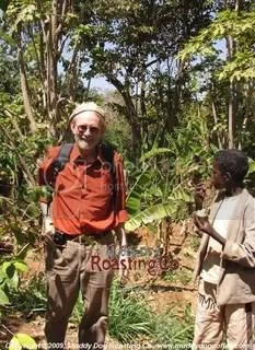 Ken Davids on a coffee farm in Harar