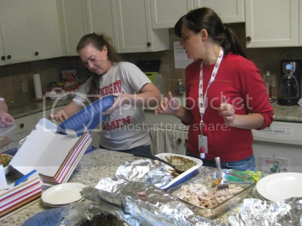 Jessica and Amy hard at work with the clean up!