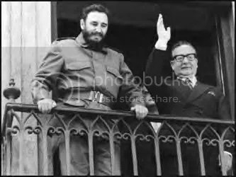 Allende and Castro greet supporters.
