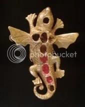 Gold Ruby Salamander Pendant