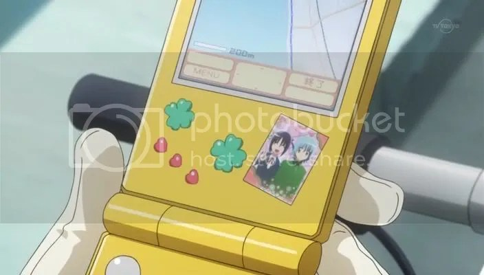 The sticker photo she took with Hayate ages ago.