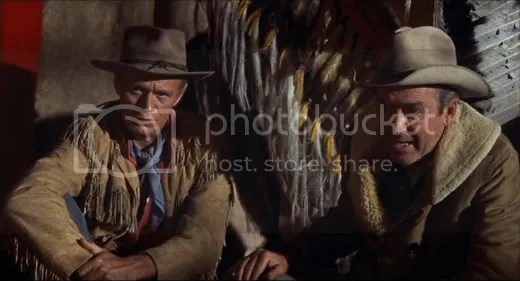 Getting down to business - Richard Widmark & James Stewart.