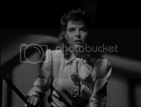 Dorothy McGuire being stalked by a shadowy killer in The Spiral Staircase.