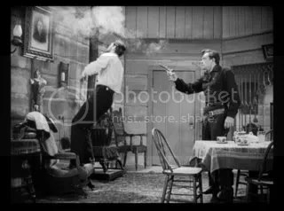 Betraying a friend - Bob Ford (John Ireland) shoots Jesse James (Reed Hadley).