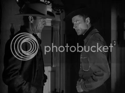 Randolph Scott & Errol Flynn going toe to toe in Virginia City
