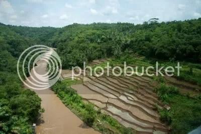 Landschap in Java gezien vanuit de trein