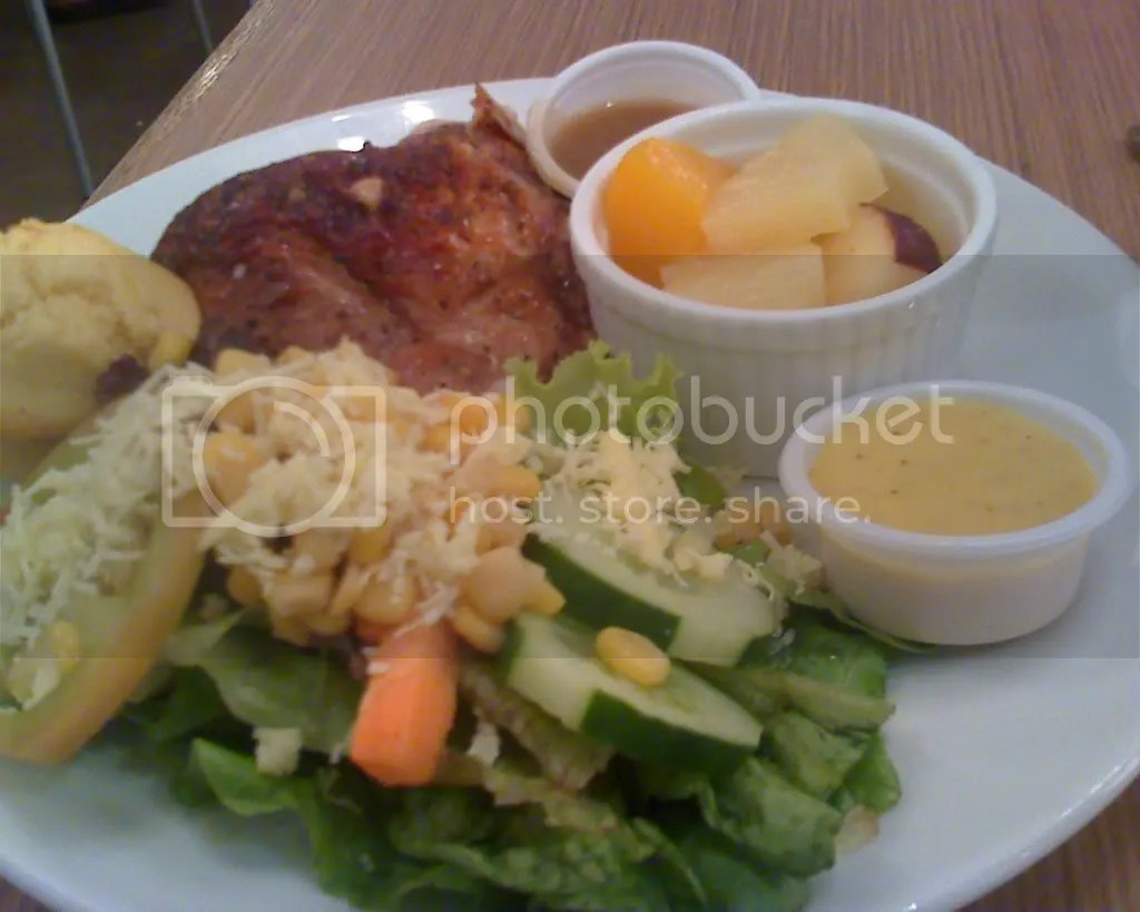 Healthy Plate: roasted chicken, vegetable salad, fruit salad and a muffin