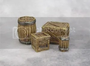 Reaper Bones, 77249: Large Barrel Small Barrel, 77248: Crates (Large and Small)