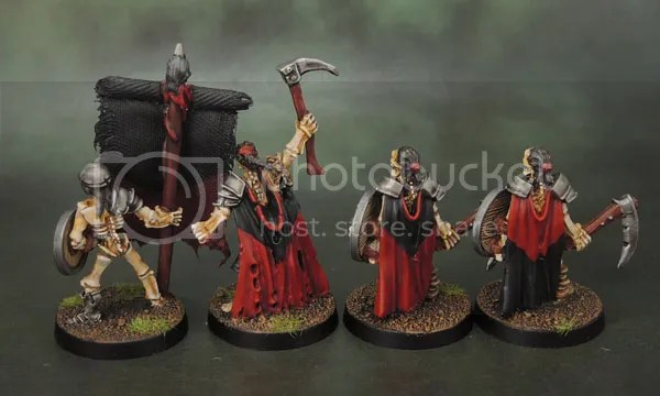 Celtos Fir Bolg Standard Bearer, Skeleton Leader with Axe (Sickle) & two champions