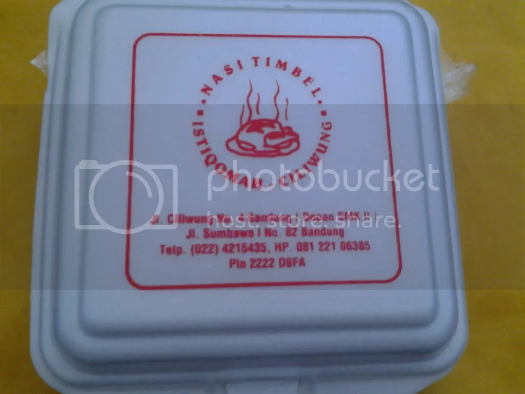 Alamat Nasi Timbel Istiqomah-Ciliwung di Styrofoam-nya