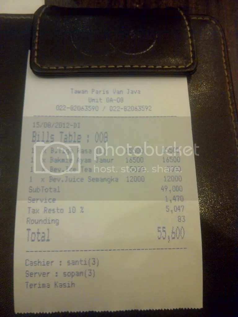 Total kerakusan Rp 55.600 (included tax & service)