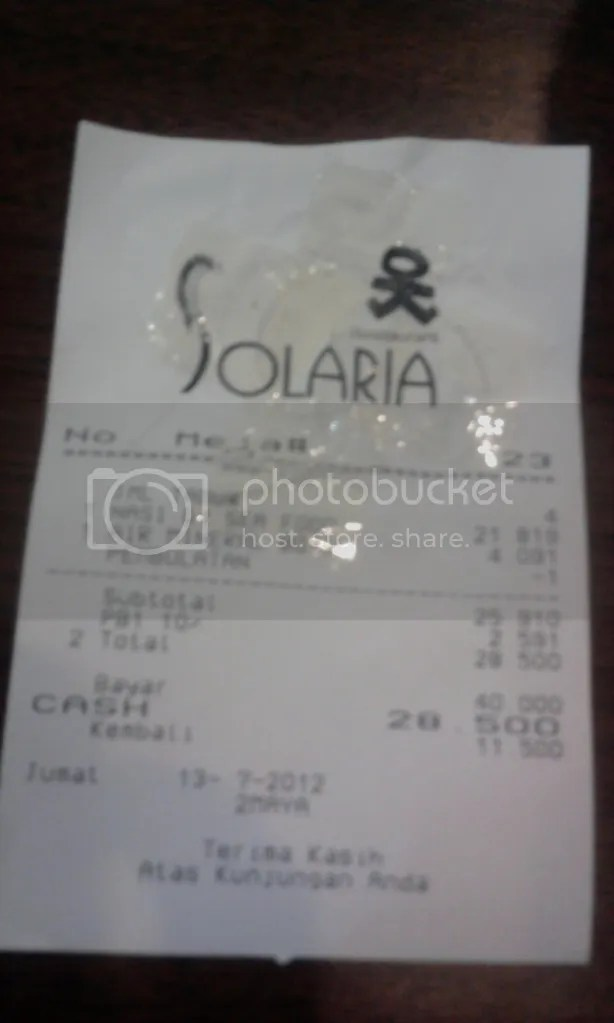 Total Rp 28.500 (included tax 10%)