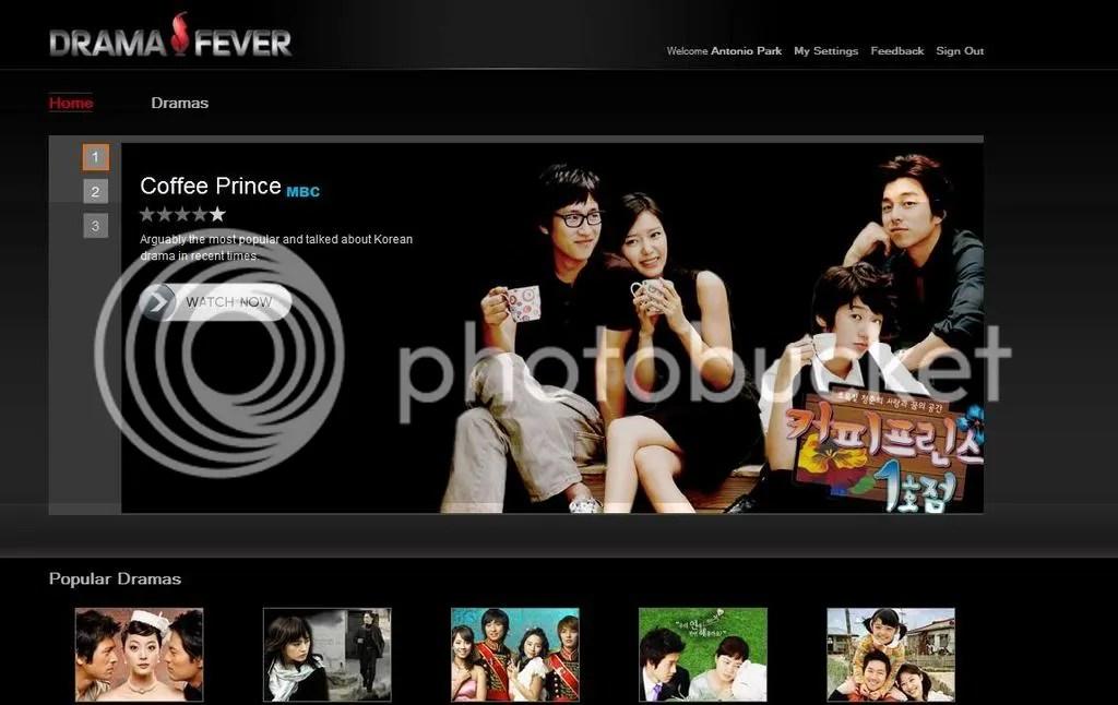 DramaFever homepage