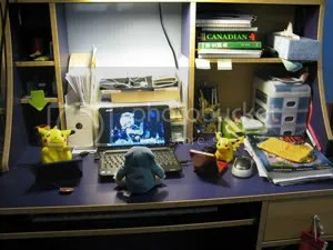 This is where I do all my procrast- er, homework! Uh, yeah! I should name this area Desk of Productivity. (Not)