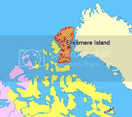 Map of Ellesmere Island, Canada