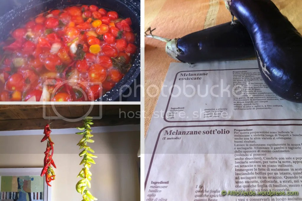 Clockwise from top left: cooking tomato sauce, bothering about aubergines and drying chili