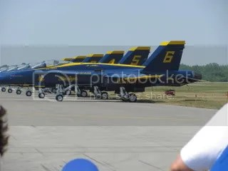 And there they are - the Blue Angels - parked and ready to roll.  I love the way they line them up, in order.