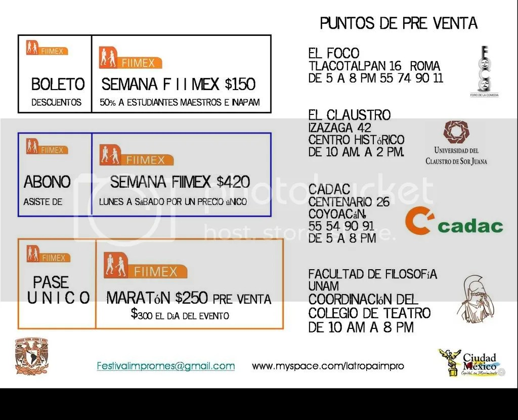 Precios festival Impro México FIIMEX