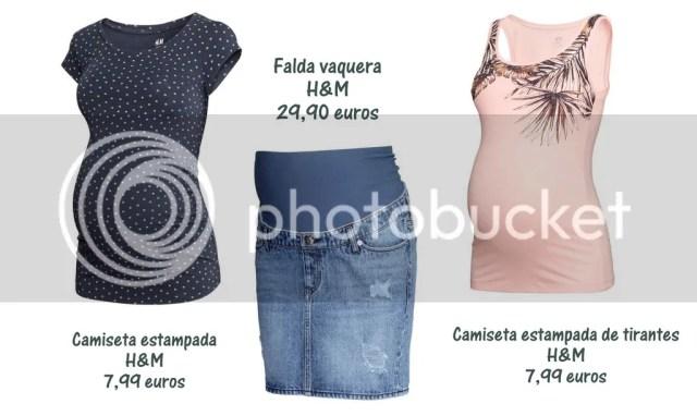 camiseta premama H&M. falda premama H&M, camiseta tirantes premama H&M