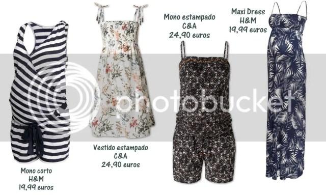 seleccion prendas premama para el verano, mono H&M, vestido corto C&A, vestido largo H&M, mono C&A