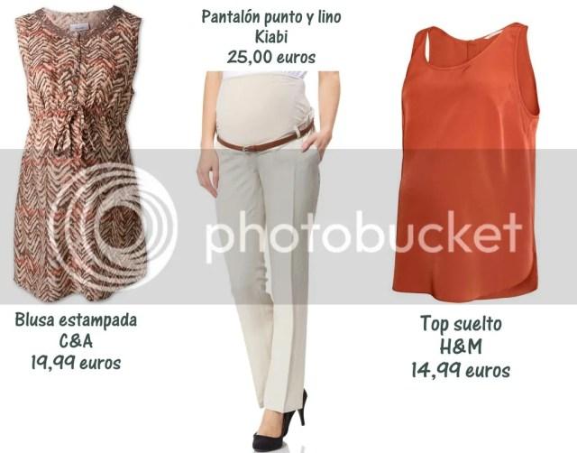 blusa premama C&A, pantalon lino premama Kiabi, camiseta tirantes premama H&M