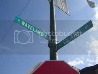 Waveland and Clark Street Signs