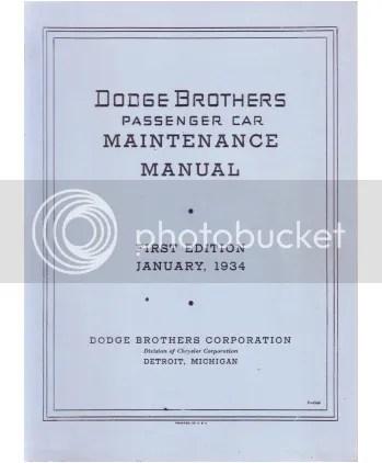 1934 Dodge Truck Shop Manual Cover