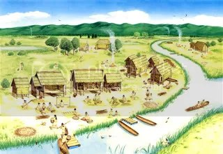 Aotasitevillagelife.jpg Village life, Aota site (National Museum of Japanese History) picture by Heritageofjapan