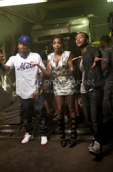 Estelle with nas and john legend on the fall in love music video set