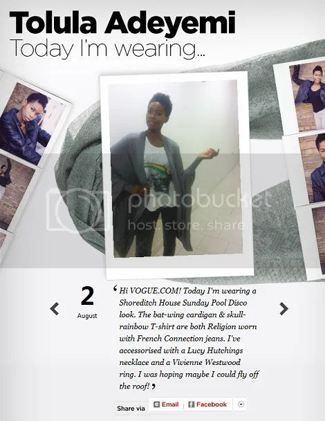 Tolula Adeyemi Featured in British Vogue's Today I'm Wearing August 2010 Photo Blog