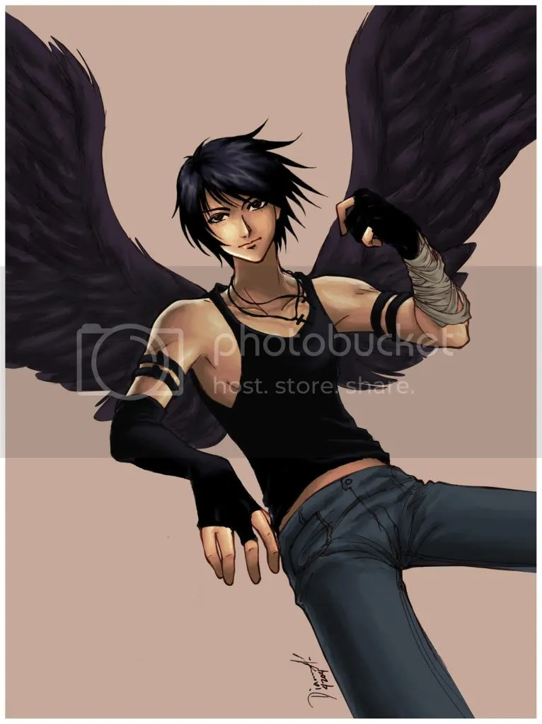 male angel with black wings