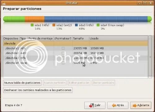Asi es como el instalador de Ubuntu 8.10 muestra las distintas particiones que puede tener un Disco Duro.