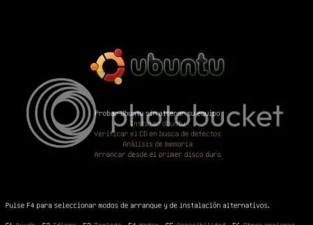 Primera pantalla de Instalacion de Ubuntu