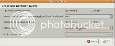 Particion de Intercambio Instalacion Ubuntu