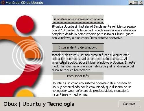 Ubuntu 8.10 instalado con Wubi